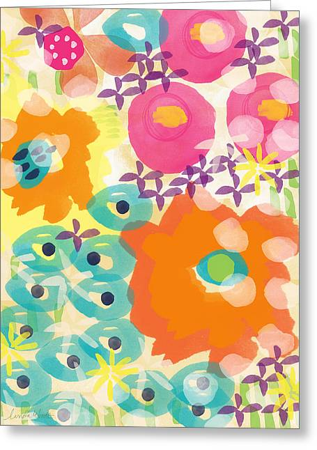 Bedroom Art Greeting Cards - Joyful Garden Greeting Card by Linda Woods