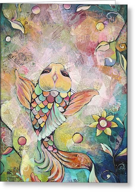 Florida Pond Greeting Cards - Joyful Koi I Greeting Card by Shadia Zayed