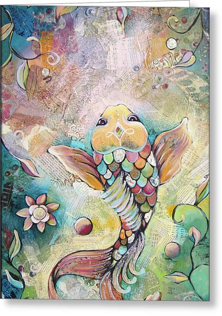 Joyful Koi II Greeting Card by Shadia Derbyshire