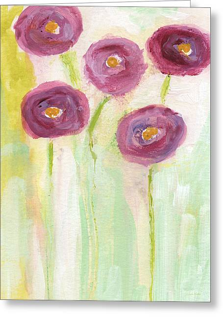 Romantic Floral Greeting Cards - Joyful Poppies- Abstract Floral Art Greeting Card by Linda Woods