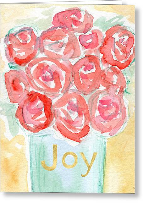 Joyful Roses- Art By Linda Woods Greeting Card by Linda Woods