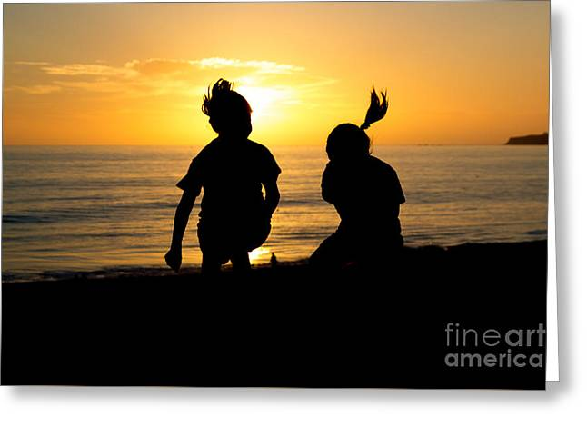 Moon Beach Greeting Cards - Joyous Sunset Greeting Card by Suzanne Luft