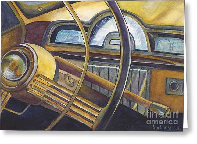 Vintage Cars Greeting Cards - Joyride Greeting Card by Barb Pearson