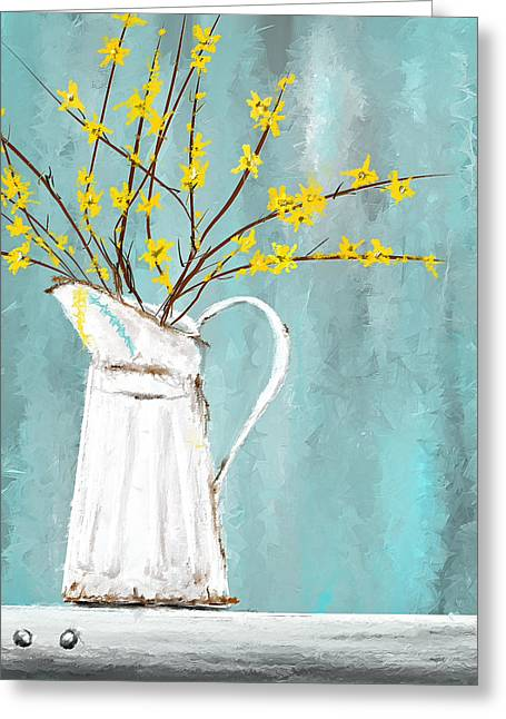 Joys Of Bloom - Forsythia Art Greeting Card by Lourry Legarde