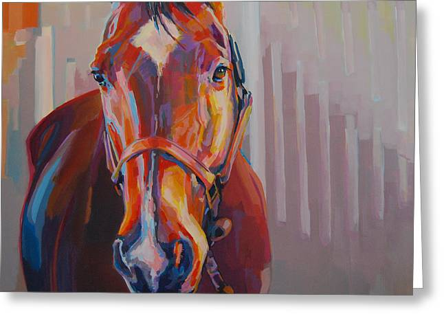 Race Horse Greeting Cards - Jt Greeting Card by Kimberly Santini