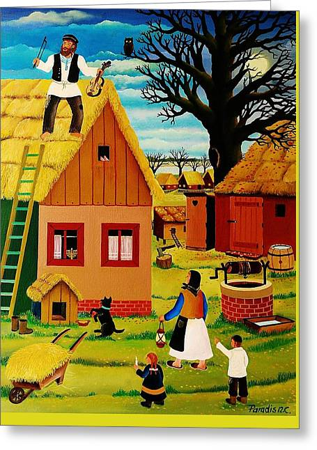 Fiddler On The Roof Greeting Cards - Judaic Fiddler on the Roof Greeting Card by Branko Paradis