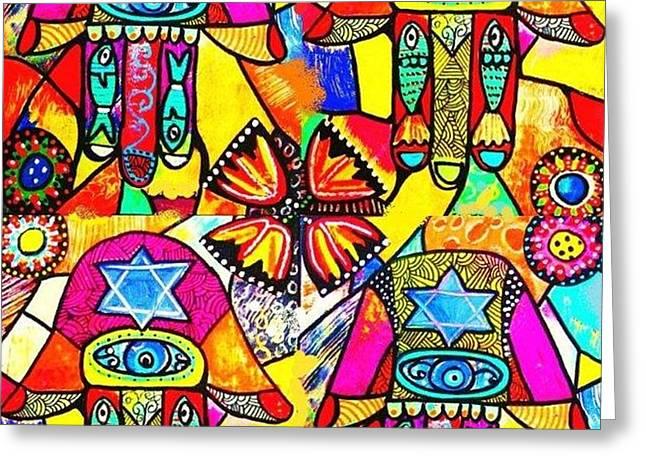 Judaica Hamsa Flower Tapestry Greeting Card by Sandra Silberzweig