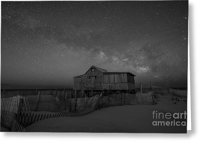 Seaside Heights Nj New Jersey Shore Hurricane Sandy Aftermath Beach Photo Photos Fireman Firefighter Firemen Dalmatian Dog Pet Fire Department Toms River Jetstar Roller Coaster Boardwalk Ocean Superstorm Greeting Cards - Judges Shack Milky Way BW Greeting Card by Michael Ver Sprill