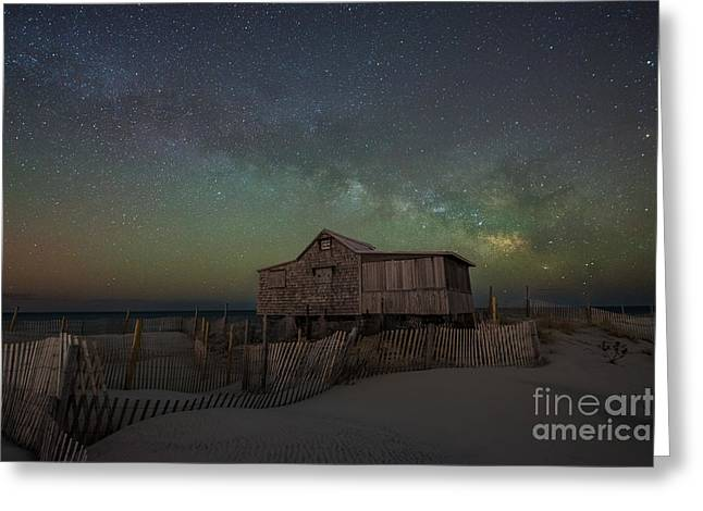 Seaside Heights Nj New Jersey Shore Hurricane Sandy Aftermath Beach Photo Photos Fireman Firefighter Firemen Dalmatian Dog Pet Fire Department Toms River Jetstar Roller Coaster Boardwalk Ocean Superstorm Greeting Cards - Judges Shack Milky Way Greeting Card by Michael Ver Sprill
