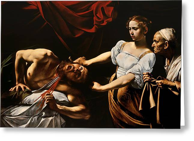 Testament Greeting Cards - Judith and Holofernes Greeting Card by Caravaggio