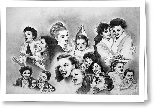 Judy And Liza Greeting Card by Carl Wolfe