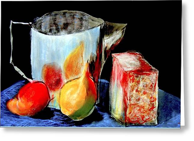 Water Jug Greeting Cards - Jug With Fruit Greeting Card by VIVA Anderson