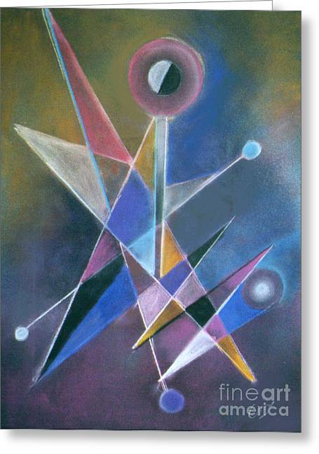 Cubist Pastels Greeting Cards - Juggler Greeting Card by Caroline Peacock