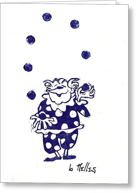 Linoleum Print Greeting Cards - Juggling Clown Greeting Card by Barry Nelles Art