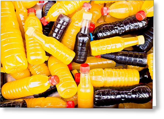 Acid Greeting Cards - Juice bottles Greeting Card by Tom Gowanlock