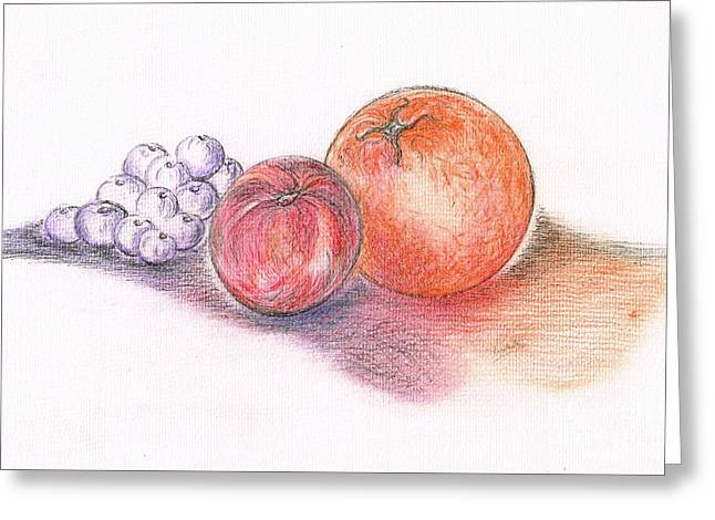 Peach Drawings Greeting Cards - Juicy Fruits Greeting Card by Teresa White