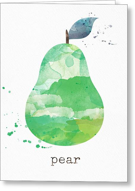 Organic Mixed Media Greeting Cards - Juicy Pear Greeting Card by Linda Woods