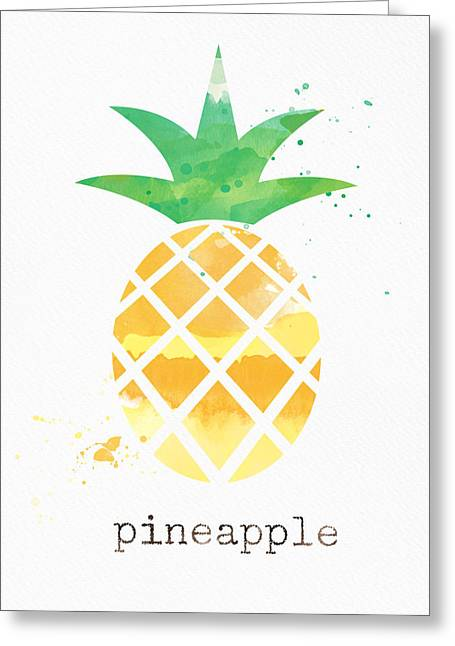 Fresh Mixed Media Greeting Cards - Juicy Pineapple Greeting Card by Linda Woods