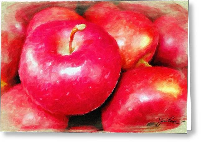 Shadows On Apples Greeting Cards - Juicy Red Apples Greeting Card by Joan Reese