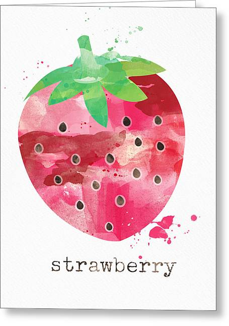Red Leaves Mixed Media Greeting Cards - Juicy Strawberry Greeting Card by Linda Woods