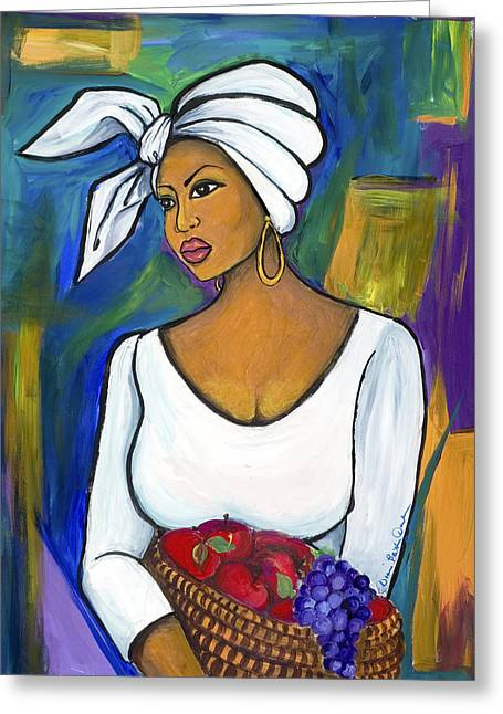 African-american Mixed Media Greeting Cards - Juju Greeting Card by Diane Britton Dunham