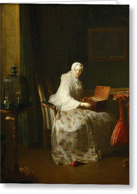 Chardin; Jean-baptiste Simeon (1699-1779) Greeting Cards - Jukebox Greeting Card by Celestial Images