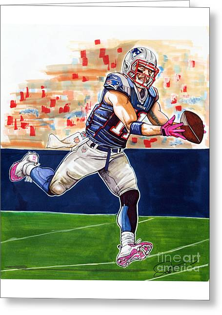 Espn Greeting Cards - Julian Edelman Greeting Card by Dave Olsen