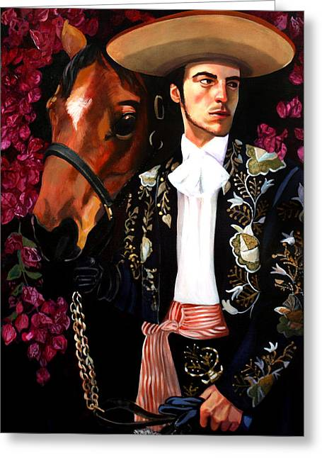 Mexican Horse Greeting Cards - Julian Greeting Card by Maryann Luera