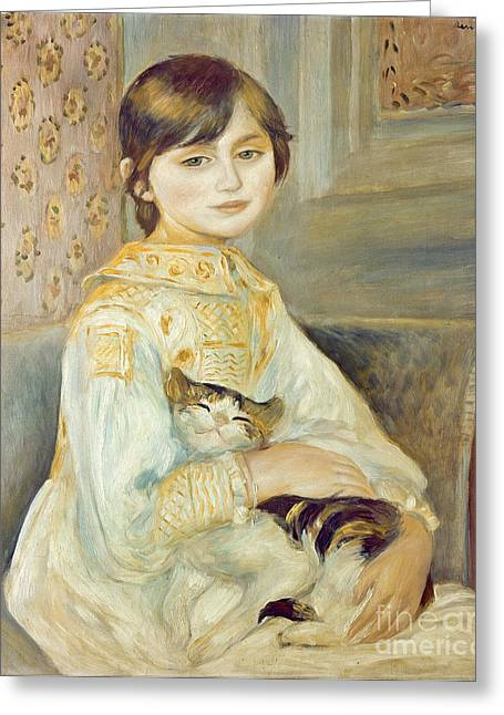 Pierre Auguste Greeting Cards - Julie Manet with Cat Greeting Card by Pierre Auguste Renoir