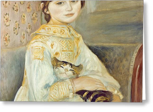 Julie Manet with Cat Greeting Card by Pierre Auguste Renoir