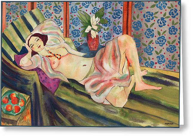Female Figures Tapestries - Textiles Greeting Cards - Juliette Greeting Card by Leslie Marcus