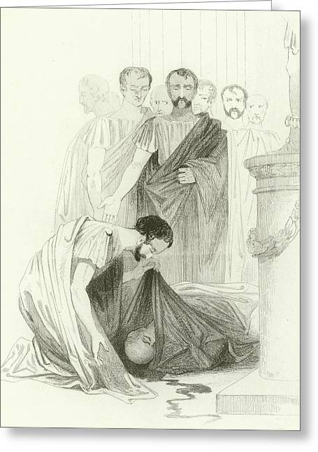 Julius Caesar, Act IIi, Scene I Greeting Card by Joseph Kenny Meadows