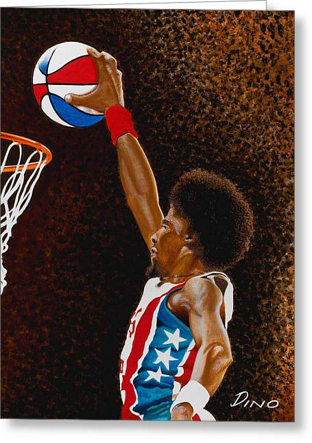 Dr J Greeting Cards - Julius Greeting Card by Dino Murphy