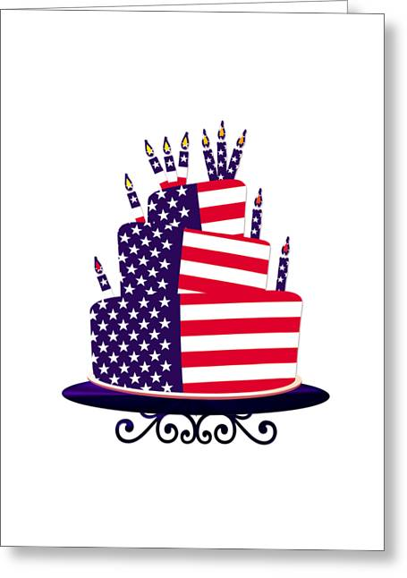 4th July Digital Greeting Cards - July 4th Celebration Cake Greeting Card by Anne Kitzman