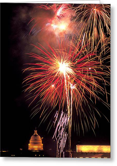 Rockets Red Glare Greeting Cards - July 4th in Washington DC Greeting Card by Carl Purcell