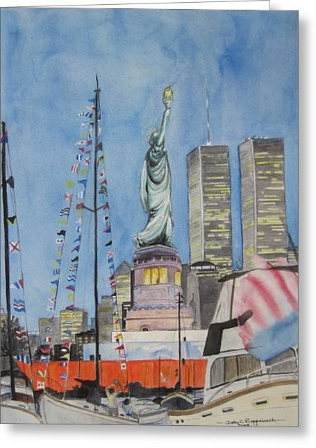 4th July Paintings Greeting Cards - July 4th Greeting Card by Judy Riggenbach