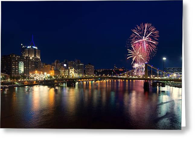 Pittsburgh Skyline.fireworks Greeting Cards - July 4th Pittsburgh Fireworks  Greeting Card by Emmanuel Panagiotakis