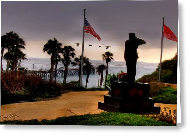 July 4th San Clemente Flyover Greeting Card by Barbara Radcliffe