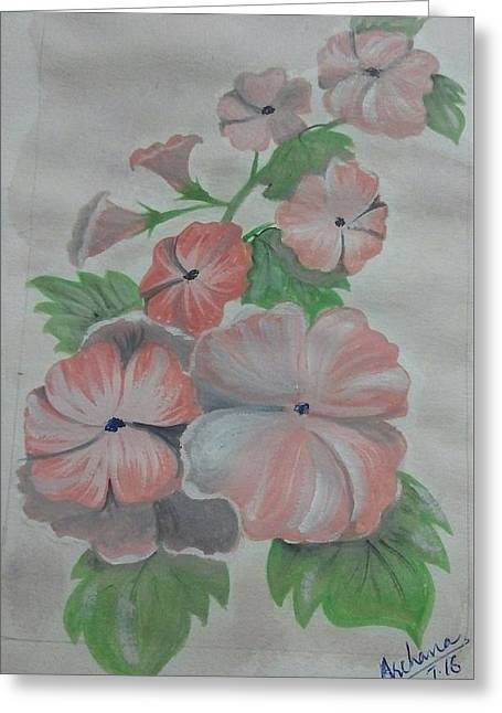 July Flowers  Greeting Card by Archana Saxena