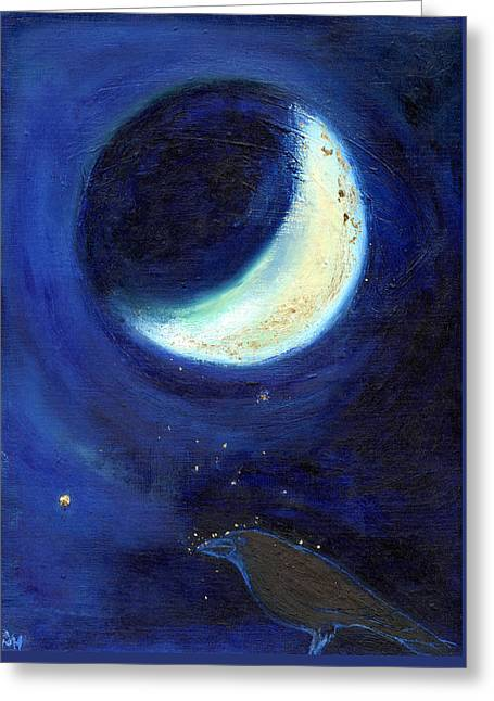 Blackbird Greeting Cards - July Moon Greeting Card by Nancy Moniz