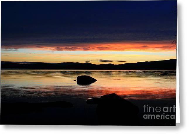 July Reflective Lake Umbagog Sunset  Greeting Card by Neal  Eslinger