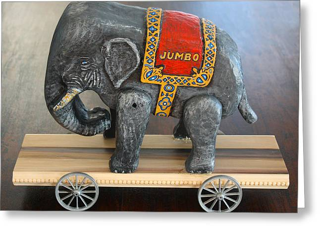 Wheels Sculptures Greeting Cards - Jumbo the Elephant Greeting Card by James Neill