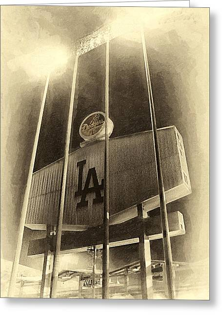 Light Pole Greeting Cards - Jumbo Tron at Dodger Stadium Greeting Card by Ron Regalado