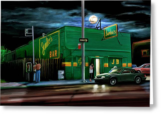 Motown Greeting Cards - Jumbos Bar Detroit Greeting Card by David Kyte