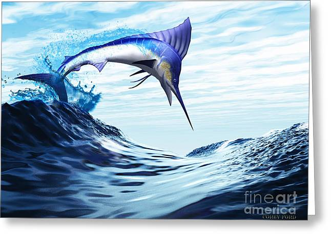 Swordfish Greeting Cards - Jump Greeting Card by Corey Ford