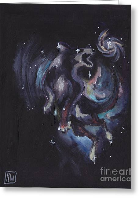 Constellations Paintings Greeting Cards - Jumping dog constellation Greeting Card by Robin Wiesneth