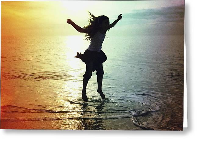 Long Jump Greeting Cards - Jumping For Joy Greeting Card by Skip Nall