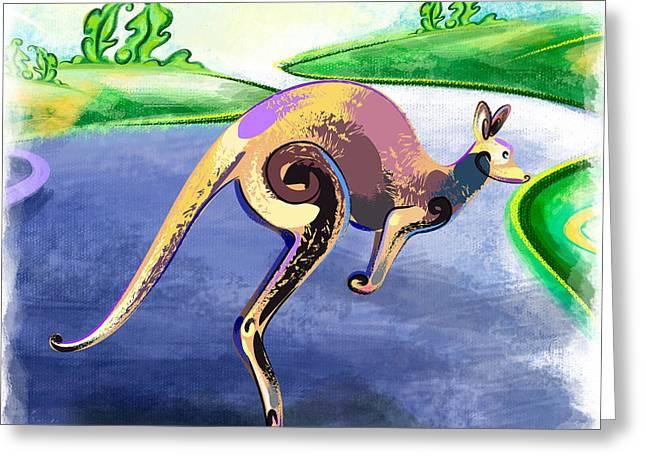 Jumping Kangaroo Greeting Card by Bedros Awak