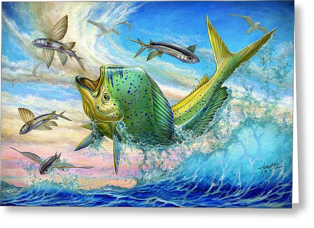Terry Greeting Cards - Jumping Mahi Mahi And Flyingfish Greeting Card by Terry Fox