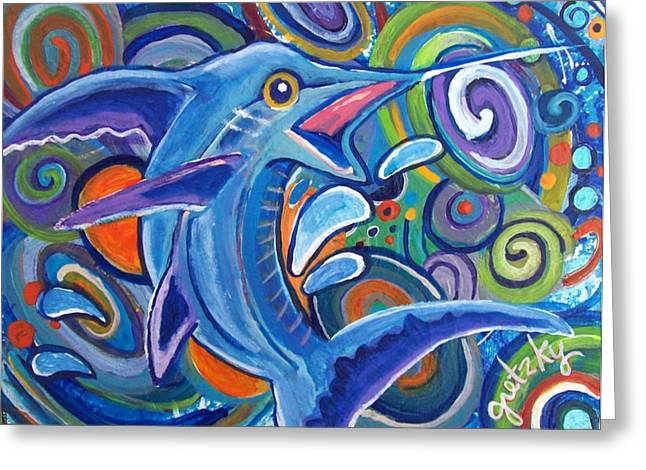 Swordfish Greeting Cards - Jumping Marlin Greeting Card by Paintings by Gretzky